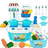 Bescita Pretend Spielzeug - DIY Nudeln Little Chef Edelstahl Geschirr Spielzeuge Kochgeschirr Küche Spielzeug Küche Spielzeug Töpfe Pfannen Geschenk Pretend Toy 22pc (Blue)