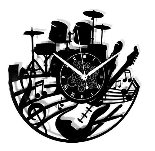 Vinyl-Plattenuhr im Vintage-Stil, Handgefertigt, wanduhr Sofort-Motiv Karma - Gitarre Bass Drum Musikinstrumente