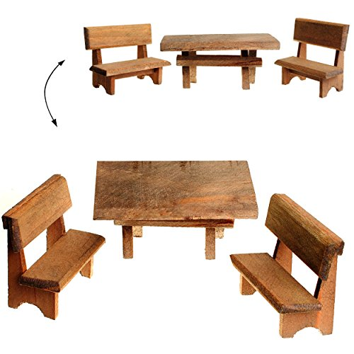 9 tlg. Set: 3 Tische + 6 Bänke aus Holz - Miniatur / Maßstab 1:12 - ' dunkles Holz ' - z.B. als Gartenmöbel Möbel - Küchenbank / Gartenbank Sitzbank - Küchenmöbel oder Garten /...
