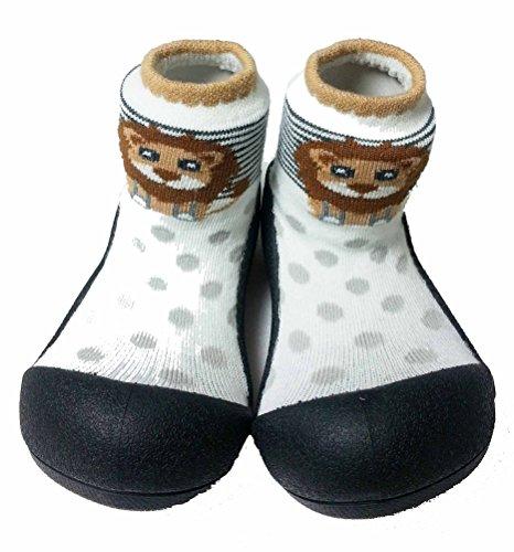 Attipas ZOO (20, Schwarz) Kinder Barfußschuhe, ergonomische Baby Lauflernschuhe, atmungsaktive Kinder Hauschuhe ABS Socken Babyschuhe Antirutsch