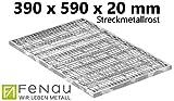 Fenau | Gitterrost/Streckmetall-Rost Maße: 390 x 590 x 20 mm - (Vollbad-Feuerverzinkt) (Passend für Zarge: Fenau 400 x 600 x 23 mm) Industrie-Norm-Rost für Lichtschacht