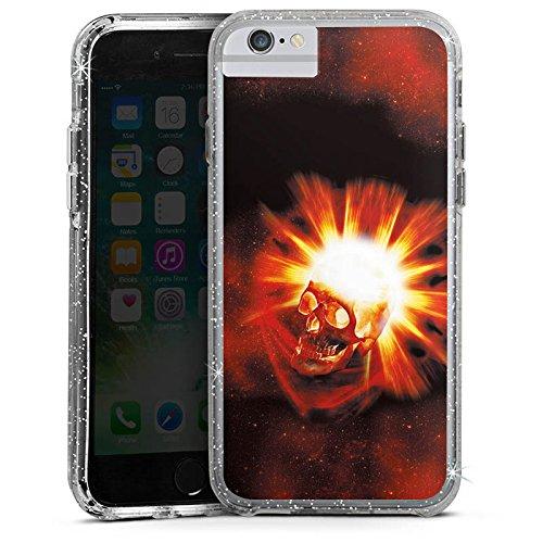 Apple iPhone X Bumper Hülle Bumper Case Glitzer Hülle Totenkopf Skull Schädel Bumper Case Glitzer silber
