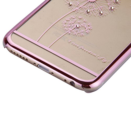 iPhone 6 Coque,iPhone 6S Silicone Coque,iPhone 6S Housse - Felfy Glitter Etui Housse Placage Coque en Silicone Ultra-Mince Etui Soft Housse Plating Case Slim Gel Cover, Felfy Etui de Protection Cas Ul Pissenlit Rosa