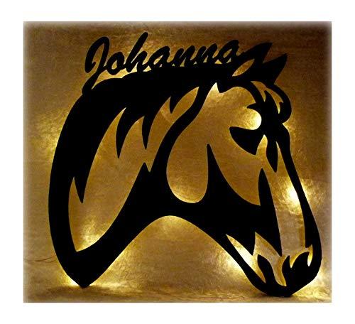 Schlummerlicht24 Led 3d Holz Design Motiv Elektronik Lampe Pferde-Kopf Deko-ration Horse Pferd Geschenk-e mit Name-n für Frauen Mädchen Kind-er Junge-n Frau Zimmer-Einrichtung Kinder-Geburtstag (Reiter 5 7)