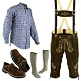 Herren Trachten Lederhose Größe 46-62 Trachten Set 5 Teilig Bayerische Trachtenlederhose,Hemd,Schuhe,Socken Neu (Hose 50 Hemd M Schuhe Socken Per Mail)