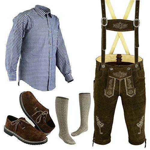 Speed4allkinds Herren Trachten Lederhose Größe 46-62 Trachten Set,Hemd,Schuhe,Socken (Hose 46 Hemd S Schuhe Socken Per Mail)