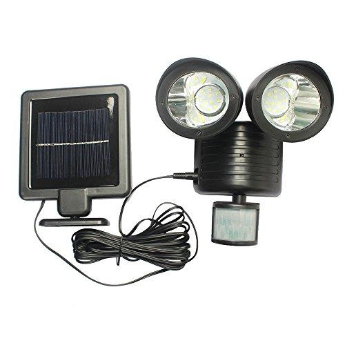 LU2000 im Freien Solar-Motion-Sensor-Leuchten, Solarsicherheitsleuchte 22 LEDs Dual Head Scheinwerfer einstellbar Wasserdicht Solar Wandleuchten für Yard Garten Auffahrt Carports Tür Straße (22 LEDs Dual Head Spotlight) (Dual-head Solar)