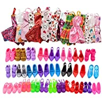 Urban Glitz Premium 12 Pairs Stylish Doll Shoes and 12 Pieces Multicolour Doll Dress Combo Pack Suitable for Standard…