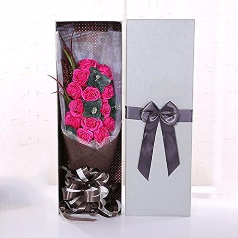 Valentinstag Geschenke, 13 parfümierte Seife Blumen, Rose Blumensträuße, Geschenkboxen, Weihnachtsgeschenke, Rose (Elegante Rosen-seife)
