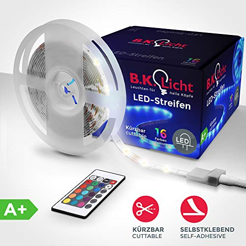 B.K.Licht LED Stripes I 5m Stripe I Lichterkette, Band, Streifen I Silikonbeschichtung I Fernbedienung, inkl. Farbwechsel, selbstklebend