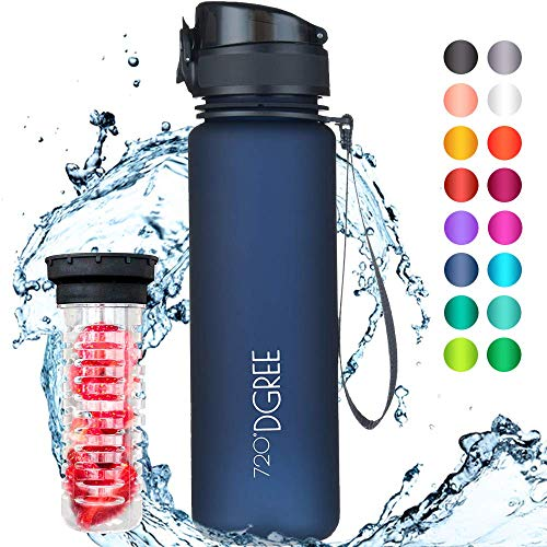 """720°DGREE Trinkflasche \""""uberBottle\"""" - 500 ml, 0,5 l, Blau - Neuartige Tritan Wasser-Flasche - Water Bottle BPA Frei - Ideale Sportflasche für Kinder, Fitness, Fahrrad, Sport, Fussball"""