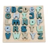 """Little Dutch Steckpuzzle """"Buchstaben rosa oder blau"""" Puzzle Sortierpuzzle Holzpuzzle Sortieren Lernpuzzle Kleinkinder (Blau)"""