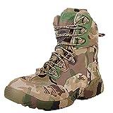 QIKAI Stivali Militari da Uomo Stivali del Deserto Scarpe da Trekking Alte in Pelle da Uomo Stivali Ragno Camouflage,Camo-40