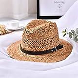 LMIDT Sombrero Mujer Sombrero del Sol De Paja del Verano De Las Mujeres Fashon Boho Sombrero De Fedora De La Playa Sombrero De Los Hombres del Sombrero,De Color Caqui