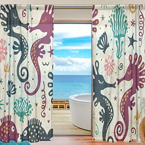 Gardine Seepferdchen Fisch Voile Tüll Fenstervorhänge, 2 Panels Set für Home Küche Schlafzimmer Wohnzimmer, 55 W X 84 L Zoll (84 Weiß Schiere Vorhang)