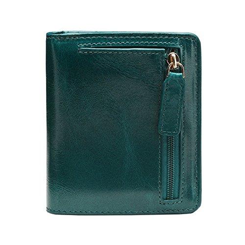 Boombee-bag Herrenbrieftasche Echtes Leder Super Light Geldbörse Unisex Handtasche Zero Wallet Anti-Diebstahl-Sicherheit Multi-Color Optional Mini Pack Business Casual tägliche Clutch (Farbe : Grün)