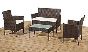Rattan Garden Furniture Set Patio Conservatory Indoor Outdoor 4 Chairs Table (Brown)