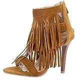 AIYOUMEI Damen Offene Römersandalen mit Fransen und Reißverschluss Stileto High Heel Modern Pumps Schuhe
