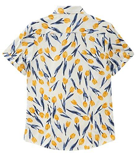 Dioufond® Damen Blumen Kurzarm Bluse Sommer Floral Print Tops Blumenmuster Freizeit Bluse Tunika Weiß und Tulpe