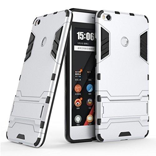 Funda para Xiaomi Mi Max 2 (6,44 Pulgadas) 2 en 1 Híbrida Rugged Armor Case Choque Absorción Protección Dual Layer Bumper Carcasa con pata de Cabra (Plateado)