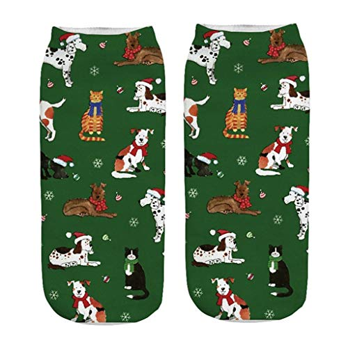 Moonuy Casual Work Business Socken 3D Christmas Santa Elk Printing Medium Sportsocken Bequeme Socken Unisex-Baumwolle -