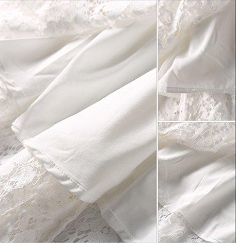 Smile YKK Reizvoll Rundhals Damen Lace Spitzkleid Cocktailkleid Skaterkleid Brautkleid Anlass Kleid Abendkleid 3/4 Aermel Weiß
