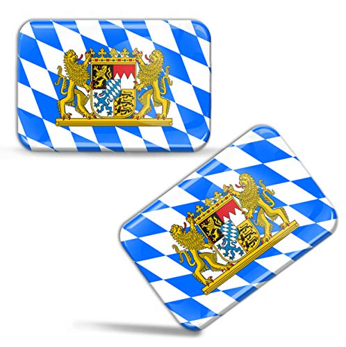 2 x Aufkleber 3D Gel Silikon Stickers Bayern Bavaria Flagge Flag Länderflagge Auto Motorrad Fahrrad Fenster Tür PC Handy Tablet Laptop F 69