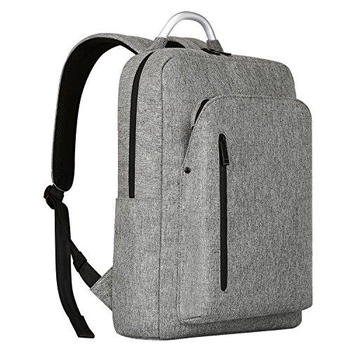 Imagen de  portátiles 15.6, reyleo morrales impermeables laptop backpack para hombre mujer estudiante tipo casual al negocio trabajo casual 19l gris claro