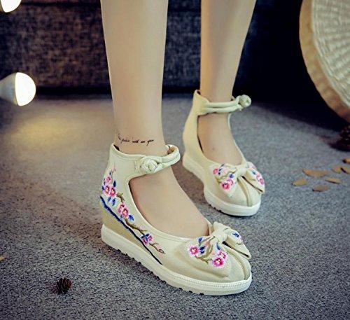DESY scarpe ricamate, biancheria, suola del tendine, stile etnico, aumento scarpe femminili, moda, comodo, casual meters white