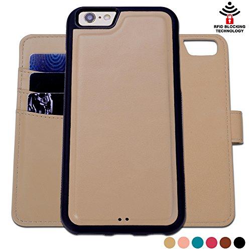 Custodia iPhone 6 6S, SHANSHUI staccabile Case in Pelle Con Magnete Supporto Stand in blocco RFID Portafoglio Porta Carte e Protettiva Flip Portafoglio Flip Case (Cachi Khaki) - Ivory Pearl Carta