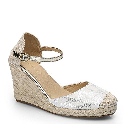 Ideal-Shoes Sandali compensate, motivo rettile Rossiccio Bianco (bianco)