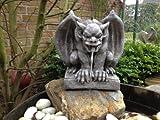 Gartenfigur Wasserspeier Gargoyle Figur Steinfigur für Garten Deko Koi Teich