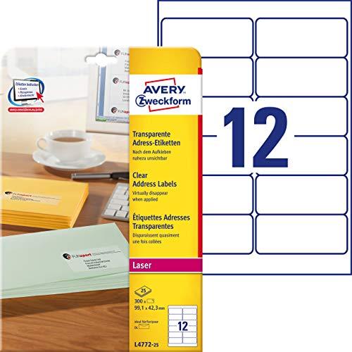 AVERY Zweckform L4772-25 Adressetiketten/ Adressaufkleber(99,1x42,3mm auf DIN A4, bedruckbar, selbstklebend, für DIN lang Kuverts + Deutsche Post INTERNETMARKE, 300 Etiketten auf 25 Blatt) transparent