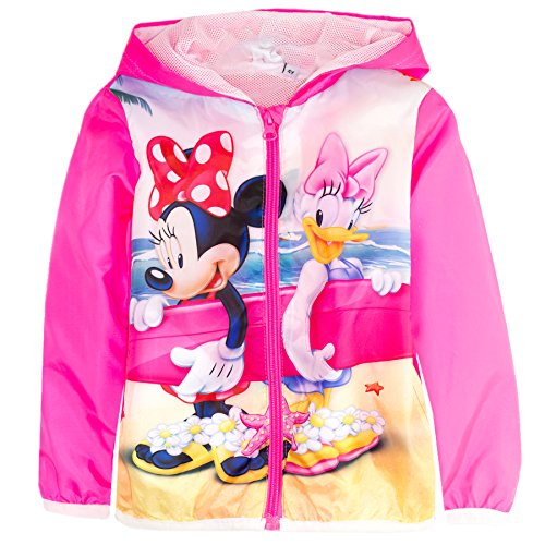 Disney Minnie Mouse Girls Spring Summer Hooded Jacket Windbreaker Windproof - New 2017 Collection - Neon Pink 4