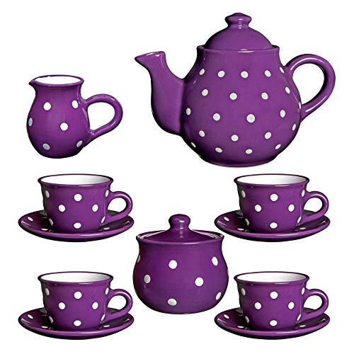 Juego de tetera de cerámica con diseño de lunares blancos y morados de City to Cottage, tamaño grande, 137 l/60 oz/4 – 6 tazas de tetera, jarra de leche, azucarero, cuatro tazas y platillos, set de té de cerámica, regalo para los amantes del té.