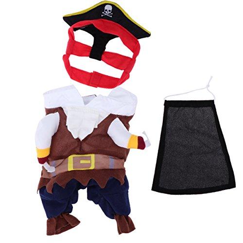 Piraten Kostüm Pet - VORCOOL Halloween Pet Kostüm Katze Hund Kleidung Kostüm Kleid Piraten Anzug Bekleidung mit Hut Größe S