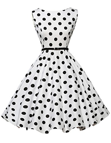 50s retro vintage rockabilly kleid audrey hepburn kleid polka dots kleid sommerkleid Größe S CL6086-6 Fan-kleid