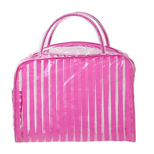 Ensemble de 4 rayé rose PVC Sac étanche Wash Cosmetic Pouch