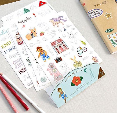Iconic Einfärbung Deco Pack Papier Aufkleber 9Blatt -
