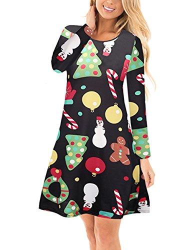 (Ruiyige Mädchen Weihnachtskleid Langarm Weihnachten Geschenk Flared Swing Mini Kleid Schwarz)