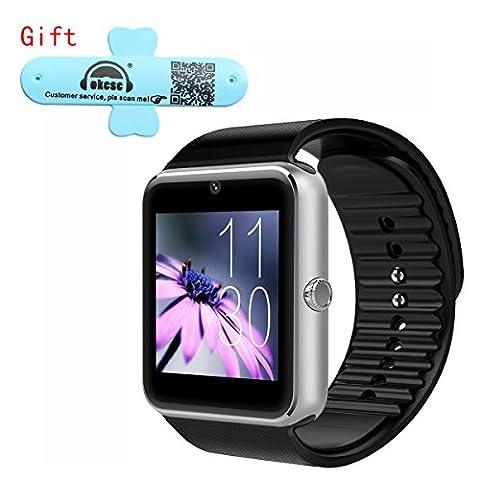 GT08 Smart Watch OKCSC® Bluetooth SmartWatch Handy-Uhr für Samsung iphone Android iOS Phone(eine funktion für ios) with SIM Camera