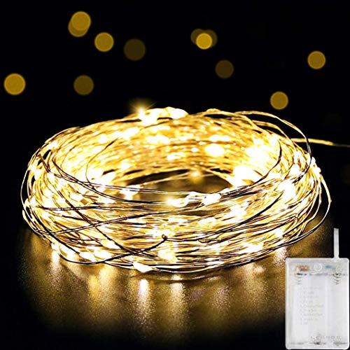 10m Led Lichterkette 100er AA Batterie Lichterkette Wasserdicht Draht mit Schalter, Stimmungslichter Lichterkette für Weihnachten, Kinderzimmer, Außen, Party, Hochzeit- Warmweiß