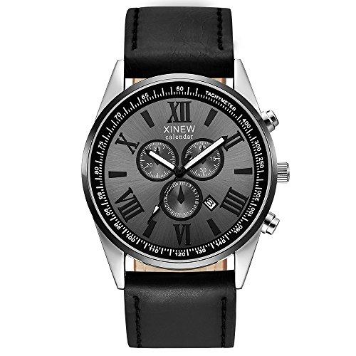 Uhren Herren Armbanduhr Sportuhr Leder Band Sport Datums Analoglegierungs Militärquarz Uhr der Geschenkmänner Casual Quartz Lederband Strap Uhr Analoge Armbanduhr Klassisch Uhr,ABsoar