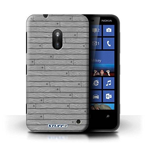 Kobalt® Imprimé Etui / Coque pour Nokia Lumia 620 / Bleu conception / Série Motif Bois Gris