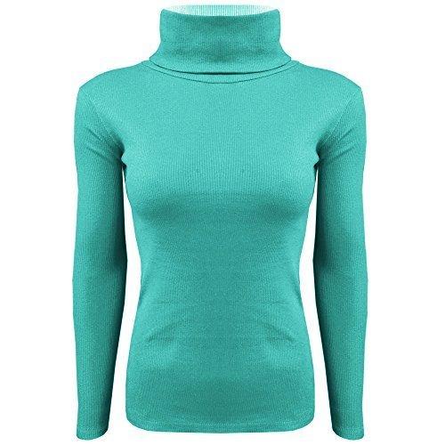 NEW Femme Manches Longues Tortue Rouleau col polo en coton côtelé pour femme Vert - Vert jade
