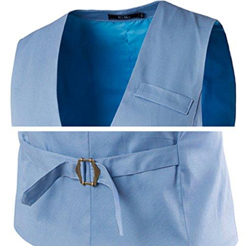 Boom Fashion Hommes de Fine élégant Conçu Casual Slim robe gilet sans manches Bleu 1