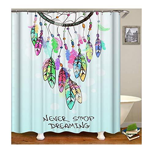 ANAZOZ Cortinas Ducha Poliester Cortina de Baño Impermeable Atrapasueños Grabado Never Stop Dreaming Colorido Cortina Baño 90x180CM