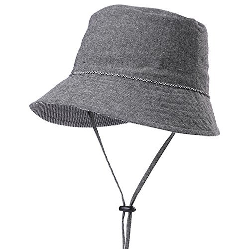 SIGGI Faltbarer Sommerhut Damen Sonnenhut mit Kinnband UPF 50 Schwarz