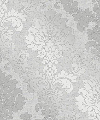 Fine Decor Quarz Damast silber Tapete fd41965-Strukturierte Shimmer Glitzer