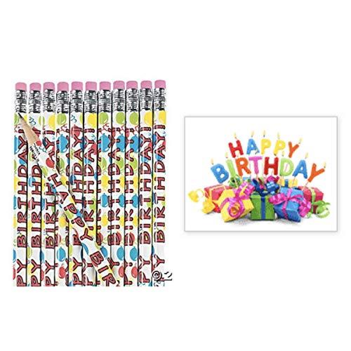 24Happy Birthday Bleistifte & 24Aufkleber (7,6x 5,7cm) Lehrer Klassenzimmer Belohnungen Give-Aways Geschenke kleine Geschenke (Birthday Lehrer Happy)
